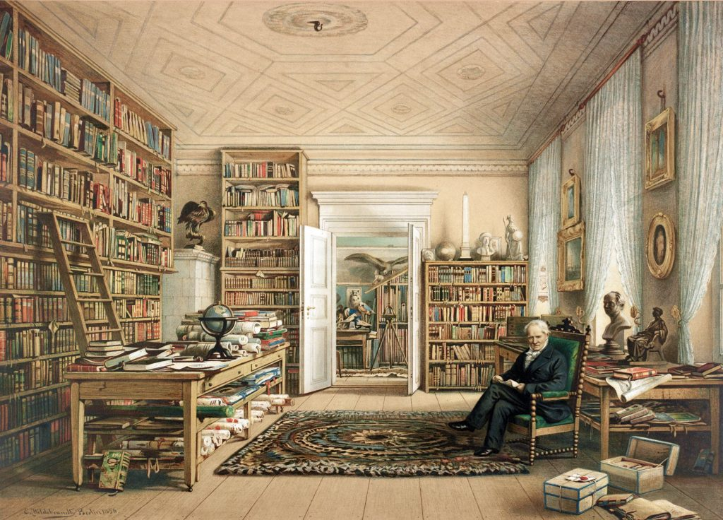 Alexander von Humboldt w swojej bibliotece, Eduard Hildebrandt , 1856